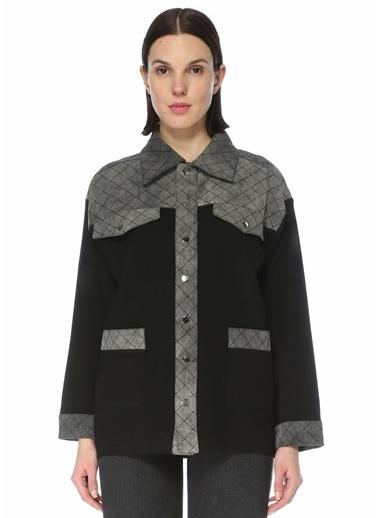 Beymen Club 101516186 Polo Yaka Denim Garnili Uzun Triko Ceket Siyah